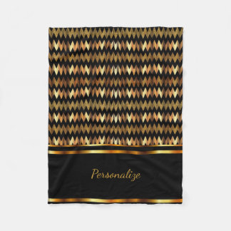 Gold Glitter & Black Chevron Fleece Blanket
