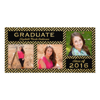 Gold Glitter Black Chevron Graduation Announcement Customised Photo Card