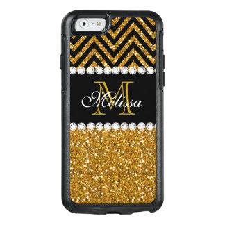 Gold Glitter Black Chevron Monogrammed OtterBox iPhone 6/6s Case