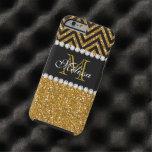Gold Glitter Black Chevron Monogrammed Tough iPhone 6 Case