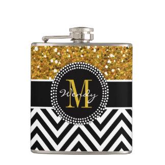 Gold Glitter Black Chevron Pattern Monogram Flask