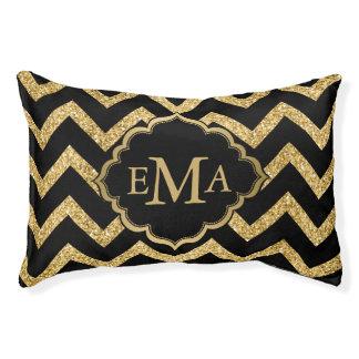 Gold Glitter Black Chevron Zigzag Pattern Monogram Pet Bed