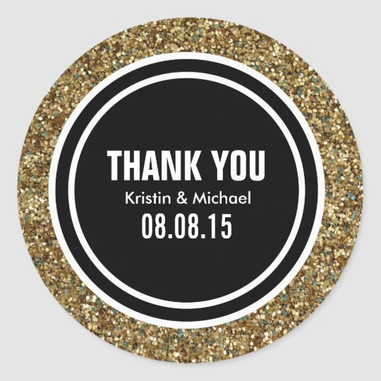 Gold Glitter & Black Custom Thank You Label
