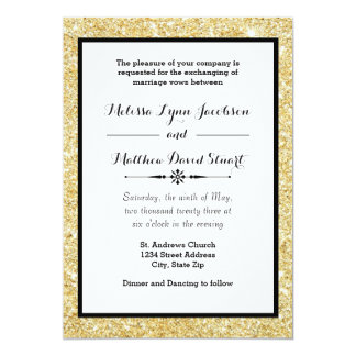 Gold Glitter & Black Frame - Wedding Invitation
