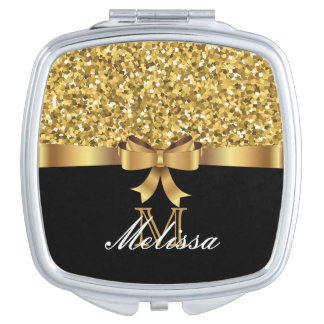 GOLD GLITTER  BLACK GOLDEN BOW MONOGRAM VANITY MIRRORS