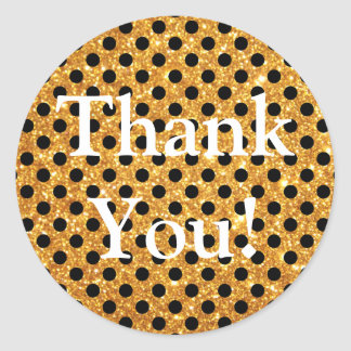Gold Glitter Black Polka Dots Thank You Classic Round Sticker
