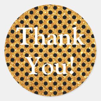 Gold Glitter Black Polka Dots Thank You Round Sticker