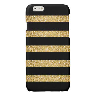Gold Glitter Black Stripes Pattern Monogram iPhone 6 Plus Case