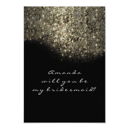 Gold Glitter Black White Confetti Bridesmaid Card