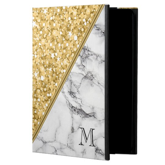 Gold Glitter Black White Marble Monogram Case For