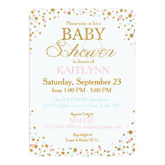 Gold Glitter Blue Pink Twins Sprinkle Baby Shower 13 Cm X 18 Cm Invitation Card