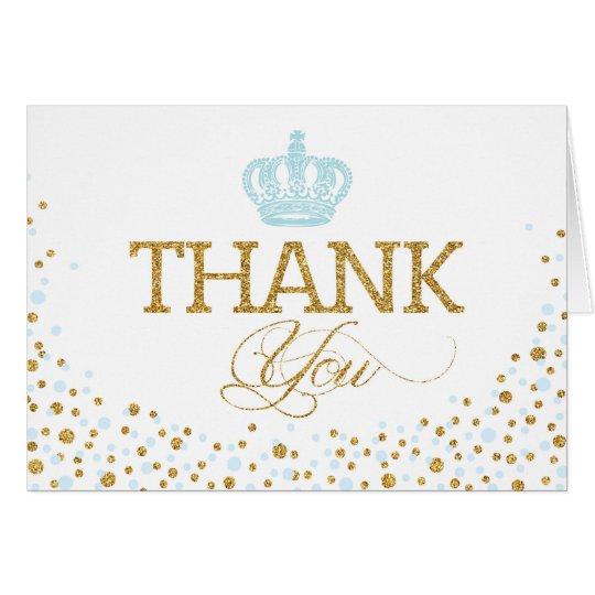 Gold Glitter Blue Royal Crown Prince Thank You