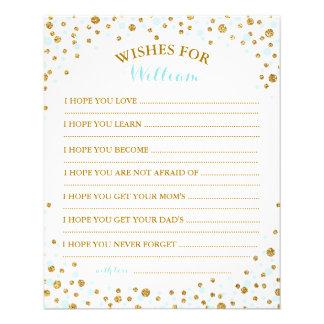 Gold Glitter Blue Sprinkle Confetti Baby Wish Card 11.5 Cm X 14 Cm Flyer