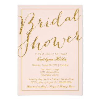 Gold Glitter Blush Pink Bridal Shower Invitation