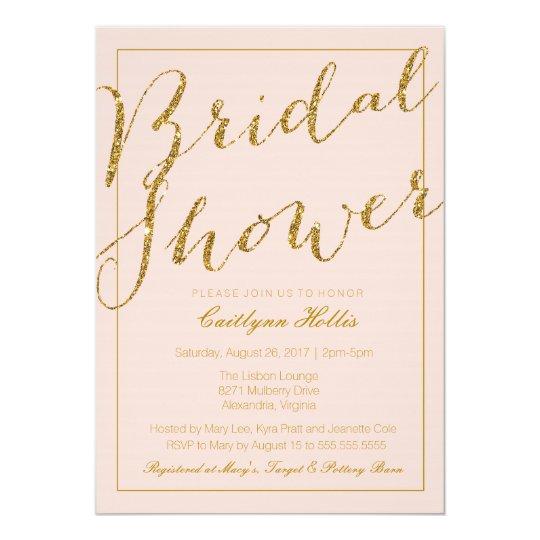 Gold Glitter Blush Pink Bridal Shower Invitation