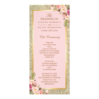 Gold Glitter Blush Pink Floral Wedding Program Rack Card
