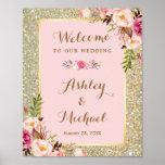 Gold Glitter Blush Pink Floral Wedding Sign