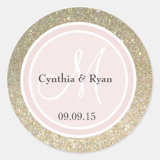 Gold Glitter & Blush Pink Wedding Monogram Classic