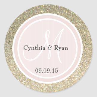 Gold Glitter & Blush Pink Wedding Monogram Round Sticker
