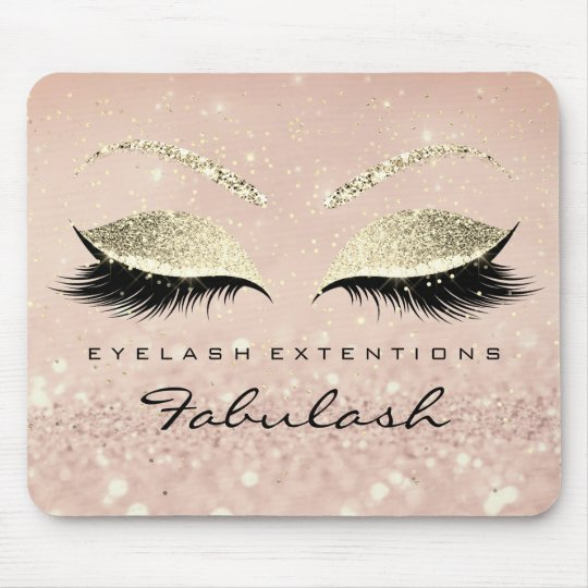 Gold Glitter Branding Beauty Skinny Lashes Pink Mouse