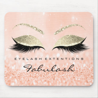 Gold Glitter Branding Beauty Studio Lashes Peach Mouse Mat