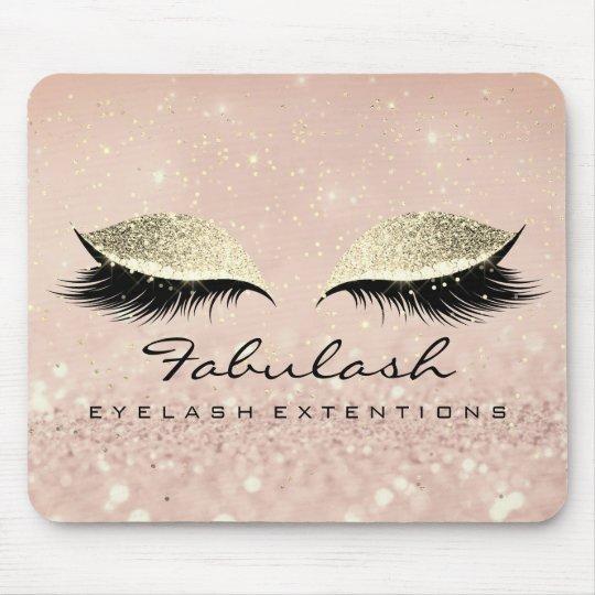 Gold Glitter Branding Makeup Artist Lashes Mouse Mat