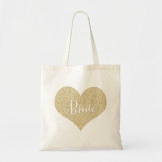 Gold Glitter Bride Tote Bags
