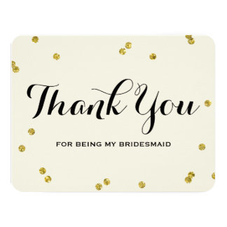 Gold Glitter | Bridesmaid Thank You Cards 11 Cm X 14 Cm Invitation Card