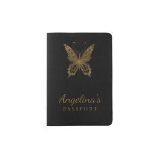 Gold Glitter Butterfly Sign Black Passport Holder