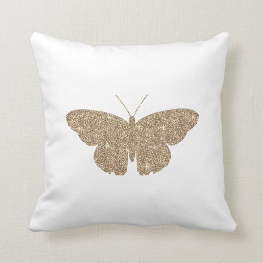 Gold Glitter Butterfly with White and Black Stripe