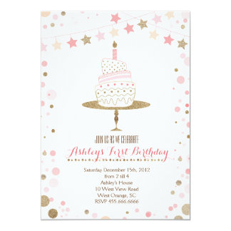 Gold Glitter Cake  Birthday Invitation