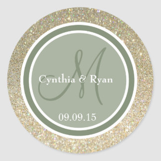 Gold Glitter & Camo Green Wedding Monogram Classic Round Sticker