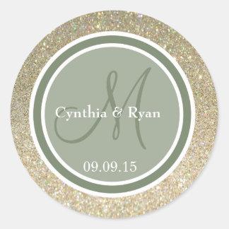 Gold Glitter & Camo Green Wedding Monogram Round Sticker