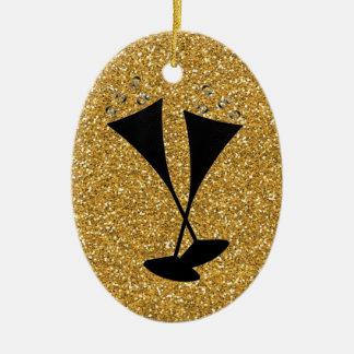 Gold Glitter Champagne Flutes Celebration Data Ceramic Oval Decoration