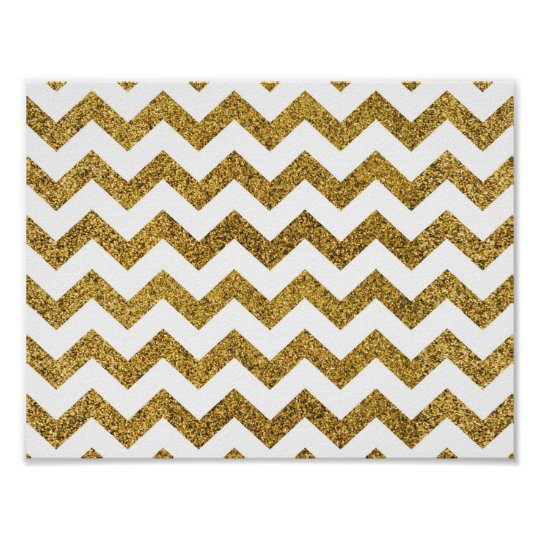 Gold Glitter Chevron Basic Poster