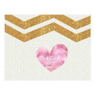 Gold Glitter Chevron Heart Wedding RSVP Postcard