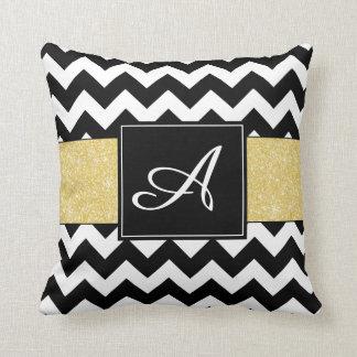 Gold Glitter Chevron Monogram Pillow