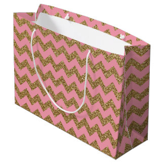 Gold Glitter Chevron Pattern on Pink Large Gift Bag