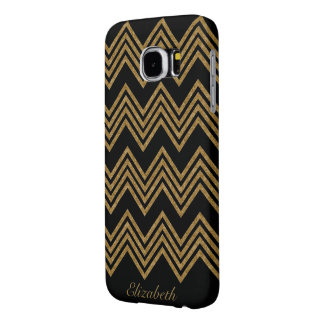 Gold Glitter Chevron Pattern Personalized Samsung Galaxy S6 Cases