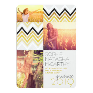Gold Glitter Chic Chevron Stripes Graduation Party Personalized Invite