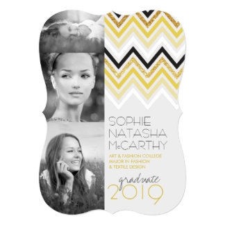 Gold Glitter Chic Chevron Stripes Graduation Party Personalized Announcements