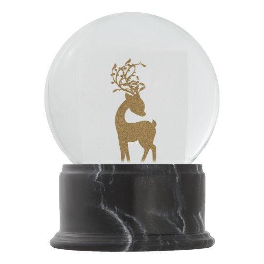 Gold Glitter Christmas Holiday Reindeer Snow Globe