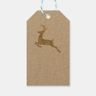 Gold Glitter Christmas Reindeer Gift Tags