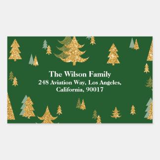 Gold Glitter Christmas Tree Sticker