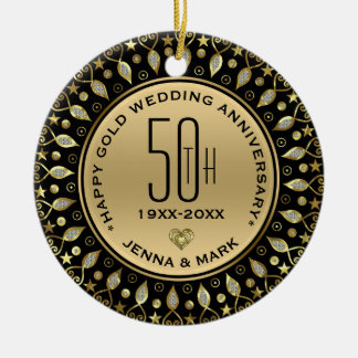 Gold Glitter Circle Frame 50th Wedding Anniversary Christmas Ornament