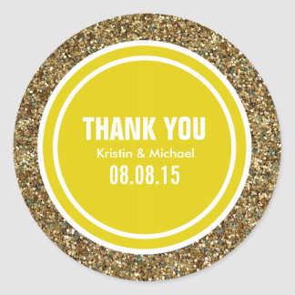 Gold Glitter Citrine Yellow Custom Thank You Label
