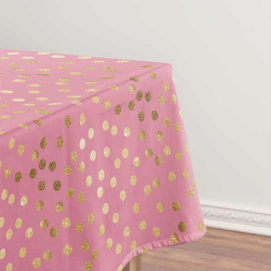 Gold Glitter City Dots On Candy Pink Tablecloth