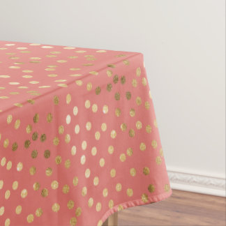 Gold Glitter City Dots on Coral Pink Table Cloth