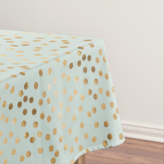 Gold Glitter City Dots on Mint Table Cloth