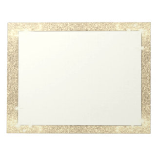 Gold Glitter Classic Glamour Sparkle Faux Notepad